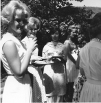 Pep Club Tea, Spring 1962  Pam Gerring, Sue Sheets, Tutu, Sue Hallberg