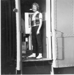 Mary Zakariasen  Taking train to San Antonio, Gethsemane Lutheran Church Choir trip, winter 1959-60