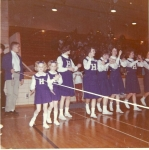 The Uherka twins and cheer squad  Ginny Lee, Sandy Latchaw, Karen Pudil, Mary Larson, Kathy Johnson