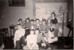 Sixth grade party, Alice Smith.  Back row, left to right:  John Grussing, Karen Stenback, Bob Stohl, Bill Coyne, Carole