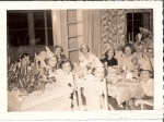 Birthday Party for Kathy Moore  Near side:  Cathy Armstrong, Marcia Thimson, Ginny Herrick, Carolyn Olson, Joy ?,   Back