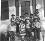 Bobby Stohl's second grade cowboy birthday party:   front row:  ? , Karen Sue Stenback, ? , Linda Jorgensen  Top ro